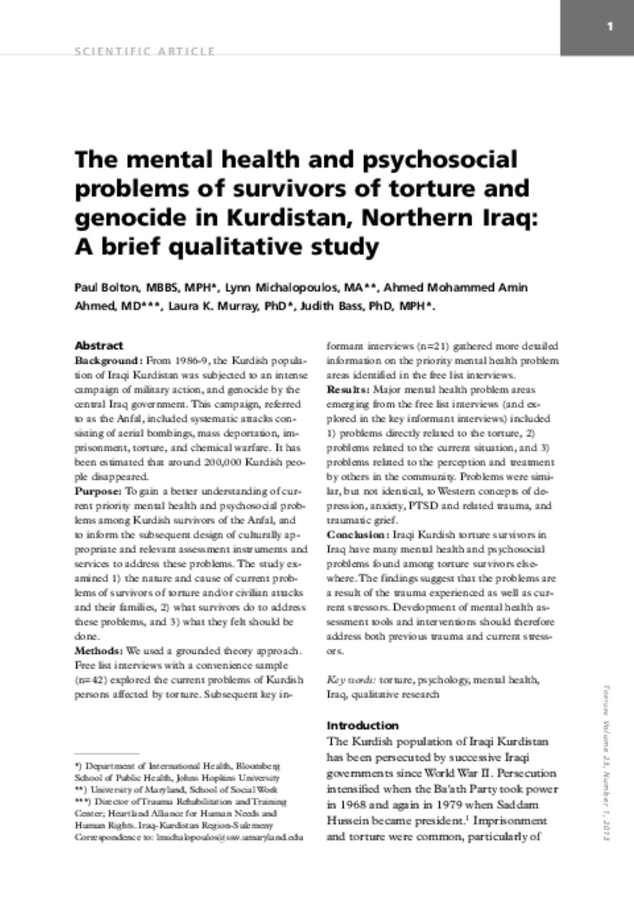 دراسة نوعية عن مشاكل صحة النفسية-الاجتماعية لدى ناجون من التعذيب و ابادة الجماعية